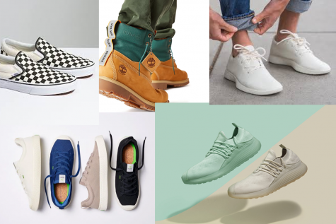From top left to bottom right: Allbirds Wool Runners, Timberland ReBOTL, Vans slip-ons, Lane Eight trainers, Cariuma IBI